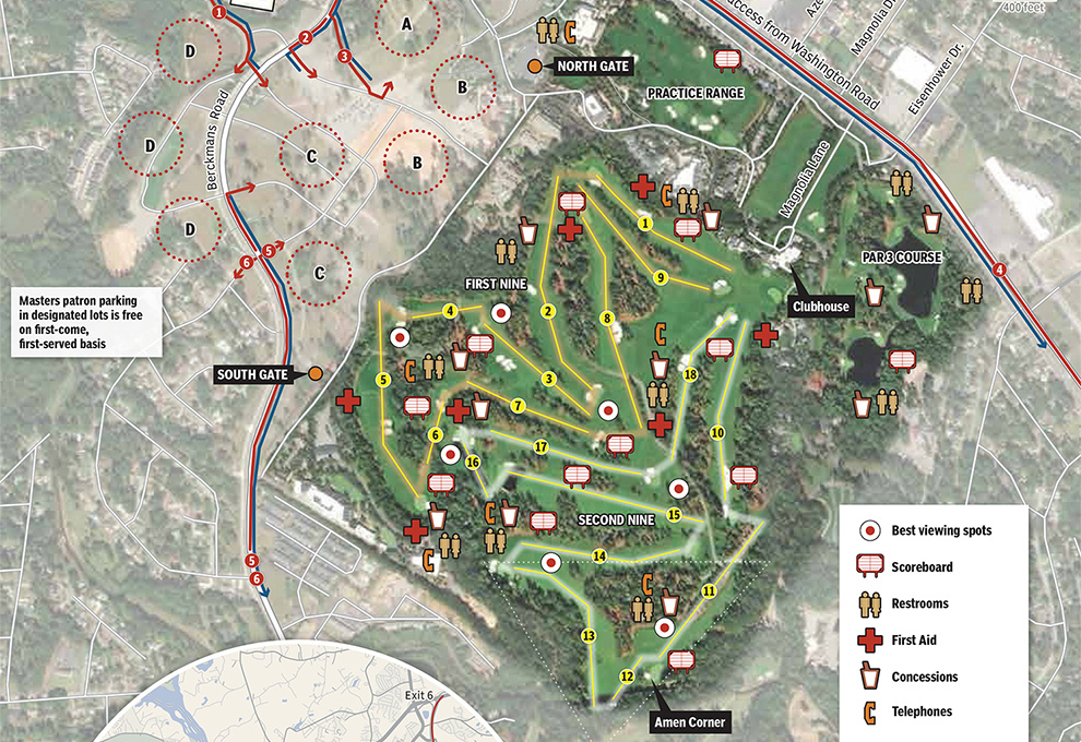 2019 Masters Course and Parking Map